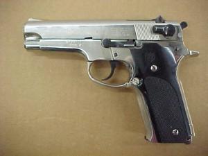 Black lever in firing position.