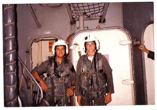 Richard Herzig (on right) onboard the U.S.S. Nimitz